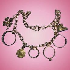 Antique 14K Gold Charm Bracelet Diamond Baby Rings Baby Shoe St Ann Four Leaf Clover
