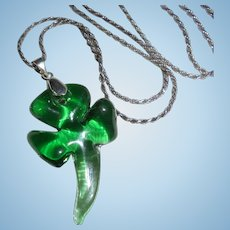 Sterling Silver Shamrock Four Leaf Clover Murano Glass Pendant Necklace Irish Made Italy