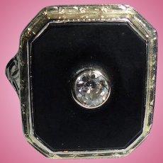 14K White Gold Onyx & Diamond Ring Size 4  to 5
