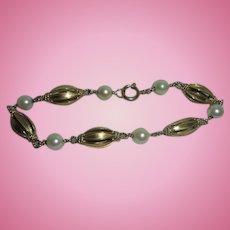 Chunky 19K Gold European Cultured Pearl Hallmarked Link Bracelet