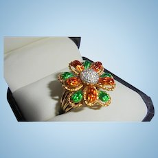 18K Italy Diamond Enamel Figural 3-D Flower Cocktail Ring Size 5.5