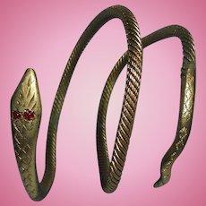 Antique Victorian Gold-Filled Triple Coiled Snake Bracelet Etched Face Garnet Eyes