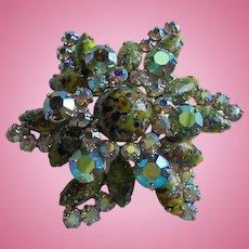 Large Easter Egg Art Glass 4 Layer Cabochon Rhinestone Green AB Star / Flower Brooch