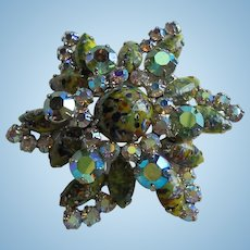 Large Easter Egg Art Glass 4 Layer Cabochon Rhinestone Green AB Star / Flower Brooch