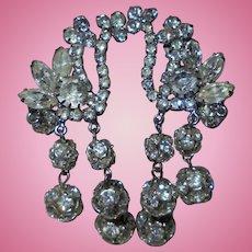 """Dazzling 3""""1/2 inch Dangling Clip-on Rhinestone Earrings"""