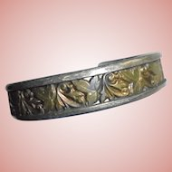 "Ed Levin Sterling Silver & Bronze Signed Leaves Motiff Cuff Bracelet 1/2"" wide"
