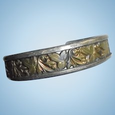 "Ed Levin Sterling Silver & Bronze Signed Leaves Motiff Cuff Bracelet 1/2"" wide"