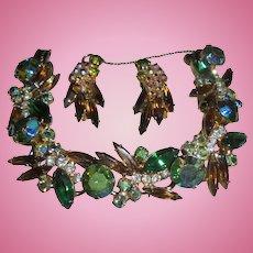 Peridot Green AB Juliana Amber Navette Rhinestone Bracelet & Earrings Set Demi Parure