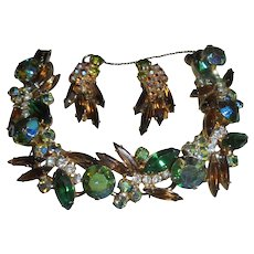 Peridot Green AB Juliana Amber Navette Rhinestone Bracelet & Earrings Set Demi Parure