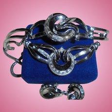 Rare Crown Trifari Alfred Philippe Baguette Rhinestone Modernist Swirl 3 Pc Parure Necklace Bracelet Earrings Set