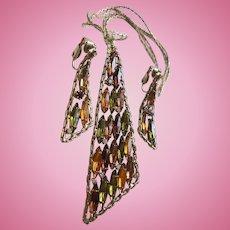 Eames Era Peridot Golden Rhinestone Navette Modernist Pendant Necklace Earrings Set