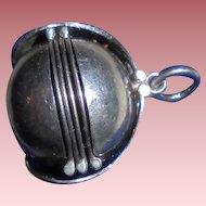 Sterling Silver Locking Ball 5 Panel Locket Pendant