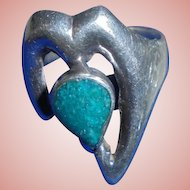 Sterling Silver Green Turquoise Modernist Heart Ring Size 4 3/4