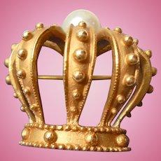 14K Gold Royal Crown Brooch by B.A. Ballou Cultured Pearl Diadem