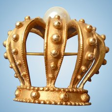 14K Gold Royal Crown Brooch by B.A. Ballou Cultured Pearl Diadem