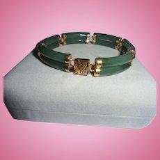 14K Gold Jade Double Layer Asian Style Bracelet European Hallamark