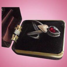 Elongated Sterling Silver & Garnet Ring Size 7