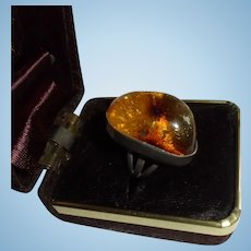 Chunky Sterling & Baltic Amber Domed Ring Silver Size 7