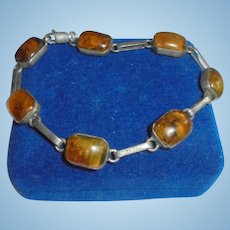 Baltic Amber Sterling Silver Bracelet w/ Inclusions