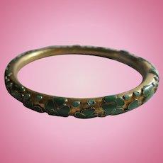 Inlaid Enamel Shamrock Brass Bangle Bracelet Green & Turquoise