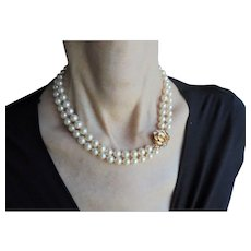 14K Gold Diamond Cultured 8 mm Akoya Pearl Double Strand Hand-Knotted Necklace Gorgeous Mid-Century Wedding