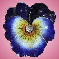 Antique 14k Gold Diamond Enamel Pansy Brooch Pendant Art Nouveau
