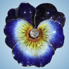 Antique 14k Gold Diamond Enamel Pansy Brooch Pendant Art Nouveau