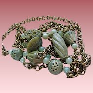 Massive 7 Foot Jade Jadeite Runway Gold-Plated Chunky Stone Necklace