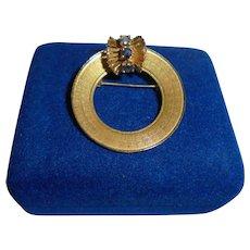 14K Gold Sapphires Vintage Wreath Brooch