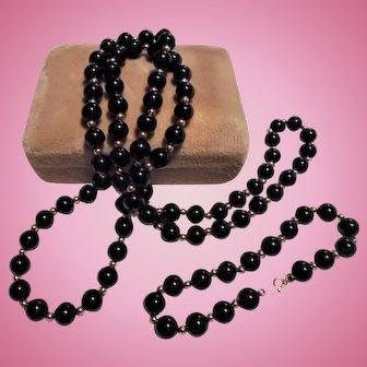 14K Gold & Onyx Beaded Necklace & Bracelet Set 7.5 mm Beads