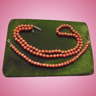 14K Gold Genuine Coral Beaded Necklace & Bracelet Set 5 mm Beads