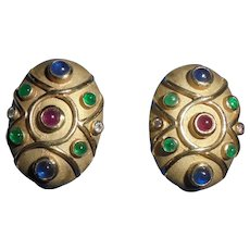 14K Etruscan Diamond Ruby Emerald Sapphires Omega Clip Earrings Egg Shaped Etruscan Revival