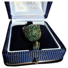 14K Gold Genuine Natural Emerald Cocktail Ring Size 4 Fabulous Domed Bee-hive