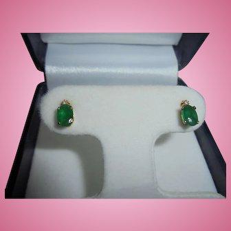 14K Gold TCW .80 Emerald & Tiny Diamond Post Earrings