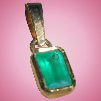 18K Gold Genuine Emerald TCW .40 Rectangular Cut Pendant