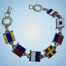 Sterling Silver Yachting Nautical Flag Enamel Bracelet Vintage