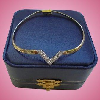 14K Gold Genuine Pave Diamond Smooth Chain Bracelet with safety catch