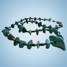 Vintage Sterling & Turquoise Nugget Beaded Necklace Silver