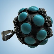 Sterling Silver Inlaid Turquoise Ball Pendant