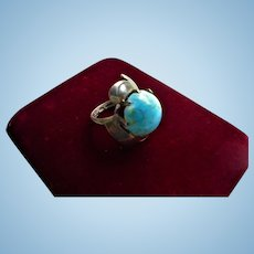 Sterling Morenci Turquoise Ring Navajo Silver