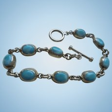 Sterling Silver Turquoise Bracelet Hallmarked 925 Mexico TO-80