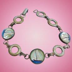 Essex Crystal Yachting Sailing Sterling Silver Bracelet Ships Vintage