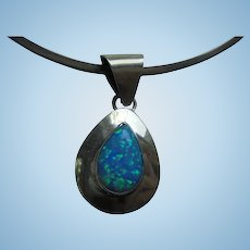 Fiery Opal Sterling Silver Pendant Collar Necklace Signed SE Navajo Artist