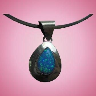 Fiery Opal Sterling Silver Pendant Collar Necklace Signed SE Navajo Artist