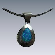 Fiery Opal Sterling Silver Pendant Collar Necklace Signed SE Navajo Artist Native American *Most Items More than 50% Off