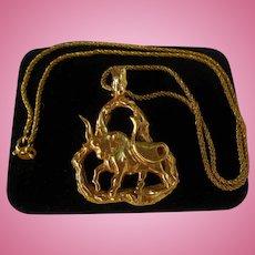 14K Gold Bull Heavy Pendant Necklace Italy Snake Chain