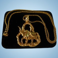14K Gold Bull Heavy Pendant Necklace Italy Snake Chain