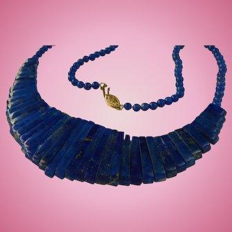 14K Lapis Lazuli Draping Bib Necklace