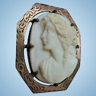 Antique Gold-Filled 3-D Cameo Brooch Signed Reilly & French