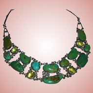 Magnificent Sterling Silver Turquoise Citrine Chunky Draping Bib Necklace Southwest
